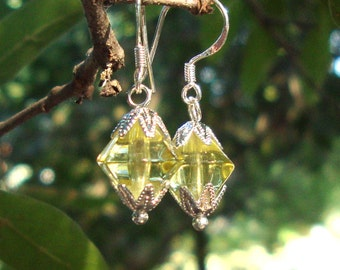 """Earrings Citrine drops -silver earwires, about 7/8"""" from top- Juicy yellow-green November birthstone citrine color"""
