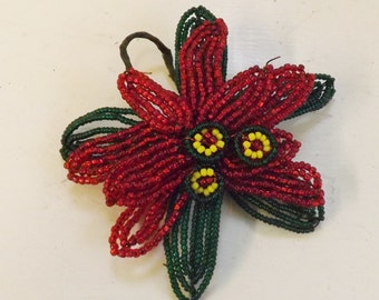 Vintage Christmas French beaded poinsettia millinery flower pick