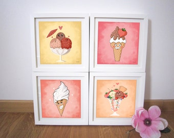 "Art Prints 20x20 cm ""Set of 4 painting ice cream"""