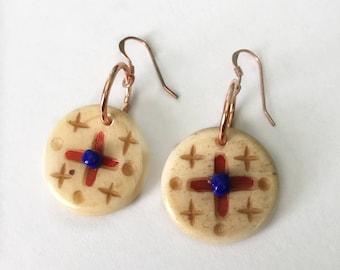 Four Directions Bone Button Earrings Tsalagi Cherokee Made