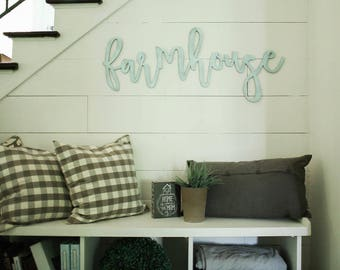 farmhouse | 3D word | cutout word | wooden word | gallery wall