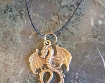 Dragon Pendant Necklace Dragon Necklace Dragon Charm Dragon Jewelry Bronze Color