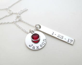 Personalized Name Necklace with Birthstones - Mothers Necklace - Personalized Jewelry - Childs Name - Son - Daughter - Custom - Grandma