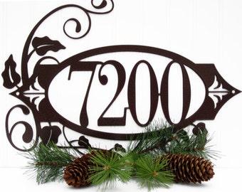 House Number Plaque - Metal, 4 Digit, Copper, 18x13, Address Plaque, Metal House Number, Address Sign, House Number