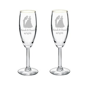Personalized Cinderella & Prince Charming Fairy Tale Wedding Quinceanera Toasting Flutes Glasses