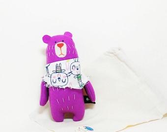 Little Purple Bear In A Scarf