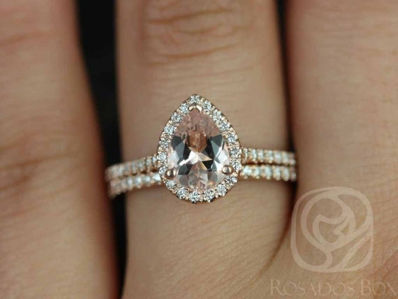 Rosados Box DIAMOND FREE Tabitha 8x6mm 14kt Rose Gold Pear Morganite and White Sapphire Classic Halo Wedding Set