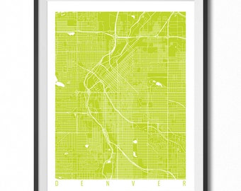 DENVER Map Art Print / Colorado Poster / Denver Wall Art Decor / Choose Size and Color