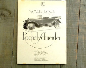 ROCHET-SCHNEIDER Original 1930 Antique French car advertising  print Illustration for Antique French Car.  Ready to Frame.