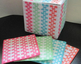 Basket Weave Woven Plastic Canvas Coasters and Storage Cube