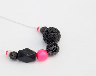 SALE-50% OFF-Hot Pink & Black Lava Rock-Agate Asymetrical Necklace