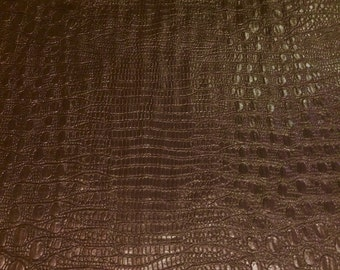 "Brown Embossed Crocodile leather like 100% polyester fabric 58"" wide sold by the yard"