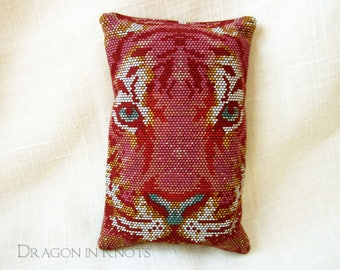 Tiger Pocket Tissue Holder - Burgundy Travel Facial Tissue Case, Mosaic Floral Cotton Accessory, Endangered Animals