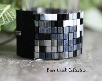 Tila Bead Cuff / Shades of Black /  Grey Charcoal Silver White Hematite Bohemian Loomed Wide Bracelet, Silver Button Black Leather