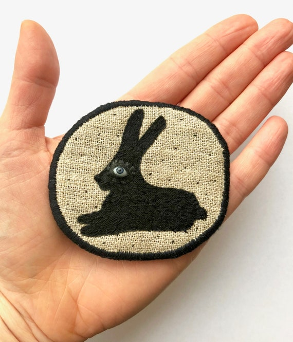 """Fiber Brooch - """"Black Bunny""""  hand embroidered statement jewellery with black rabbit"""