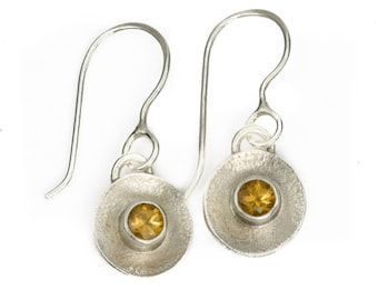 Argentium Silver and Citrine drops