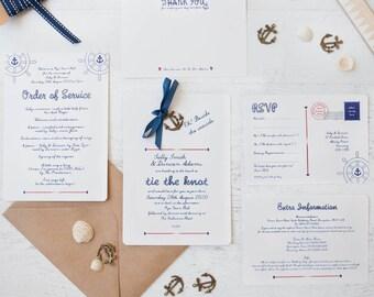 Nautical DIY Wedding Invitation Pack - Minimum order of 25