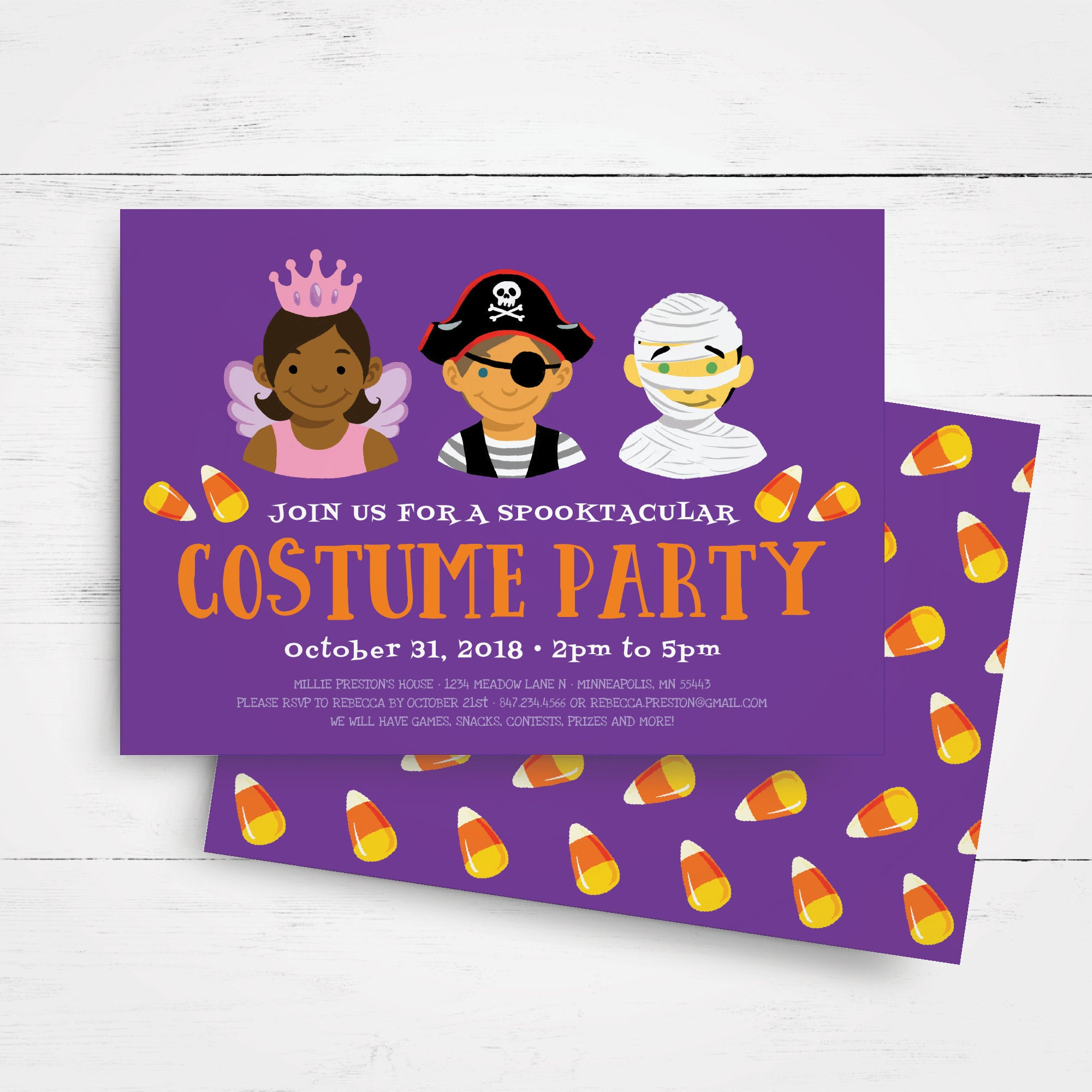 Halloween Invitation Template, Kids Halloween Party Invitation ...