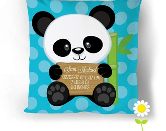 Panda Birth Stats Pillow Cover - Personalized Birth Announcement Throw Pillow Baby Stats - Custom Baby Cushion - Baby Gift - Nursery Decor