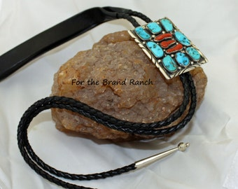 Southwestern Bolo Tie with Turquoise and Coral