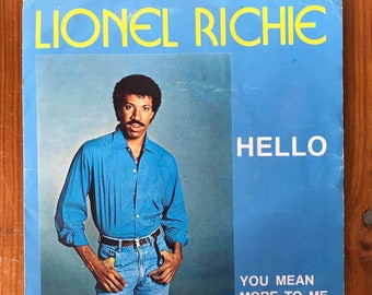 "Lionel Richie ""Hello"" / ""You Mean More to Me"" Vintage Single Vinyl Record"
