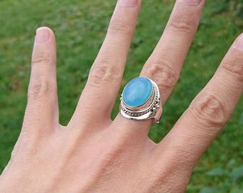 Aquamarine on silver ring