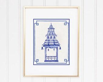 Chinoiserie Pagoda Print, Pagoda Wall Decor, Pagoda Painting, Chinoiserie Wall Art, Chinese Pagoda Art, Hollywood Regency Decor, Eastern Art