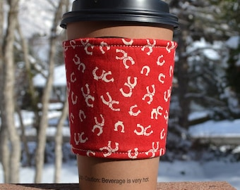 FREE SHIPPING UPGRADE with minimum -  Fabric coffee cozy / cup sleeve / coffee sleeve / coffee cup holder -- Horseshoes for horse lovers