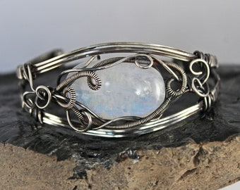 Gorgeous Flashy Rainbow Moonstone Oxidized Sterling Silver Wire Wrapped Cuff