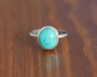Carico Lake Turquoise Ring, Sterling Silver Ring - Size US 7