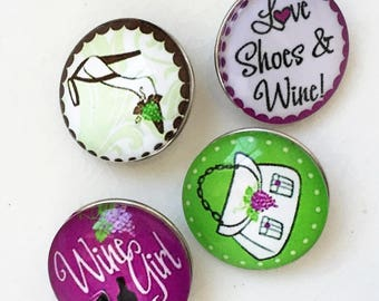 new stock diy snap jewelry graphic wine lover and shoe lover interchangeable 18mm snaps--mixed lot of 4