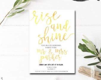 Wedding Brunch Invitation - Post Wedding Brunch Invitation - Rise and Shine - Newlywed Brunch Invitation