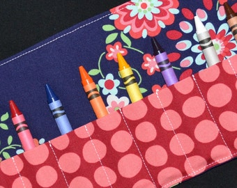 Floral Crayon Roll Party Favor - Christmas Gift Stocking Stuffer - Gift - Crayon Holder - Crayon Keeper - Crayon Storage