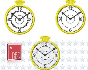 Taschenuhr Applikation und Patch Uhr Tick Tack Stickdatei Direkter Doawnload