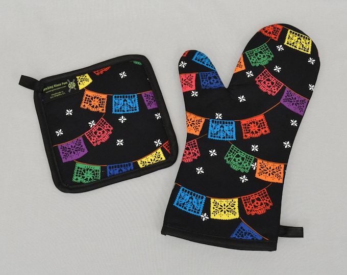 Mexican Papel Picado Banners Oven Mitt and Pot Holder, Sets and Singles