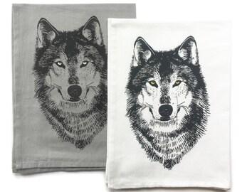 Wolf Kitchen Towels - Hand Towel - Tea Towels - Woodland Dish Towel - Dish Cloths - Housewarming Gift - Wedding Gift - Hostess Gift - Wolf