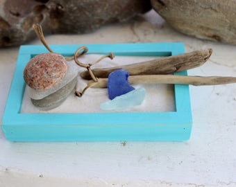 Colors of the Sea Sand Garden with Seaglass , Driftwood and Lake Stones , Mermaid Style , Beach coffee Table Decor, Zen Garden