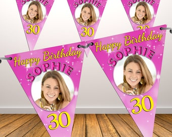 Personalised Happy Birthday PHOTO Flag Banner Bunting with ribbon N40 (10 Flags ) Hanging Decoration 18th 21st 30th 40th Any Age