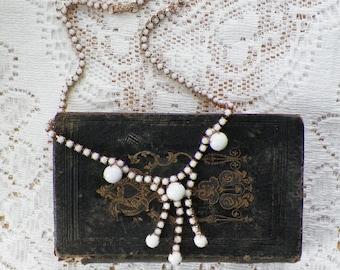 Vintage White Milk Glass Cabochon Dangling Necklace, Gold Tone Metal, Vintage Bride, Vintage Wedding, Vintage Bridal, Milky White Glass