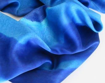 Blue Silk Scarf, Hand Painted Blue Silk Scarf, Hand Painted Silk Scarf, Silk Scarf, Blue Scarf, Large Silk Scarf, Gift For Her, Silk Wrap