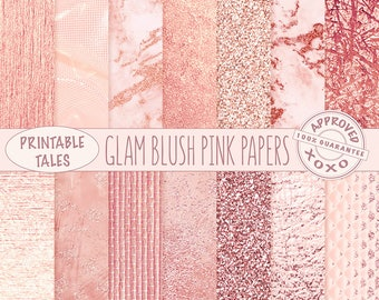 Blush Rose Gold Pink glitter digital papers, Metallic Page, Glam download, Raffia texture background, Marble planner paper, Shiny Foil