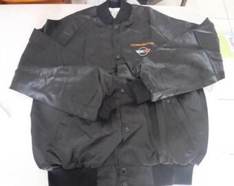 vintage black satin Corvette Jacket XL