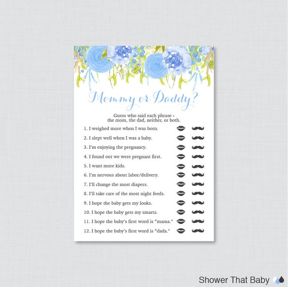 Blue Mommy Or Daddy Baby Shower Quiz Baby Shower He Said She