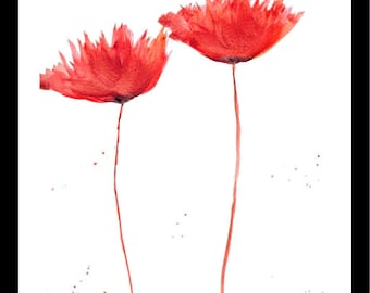 Poppy painting Poppies art Red poppy flowers Original watercolour painting Floral artwork Gift for her 9 x 12 inches