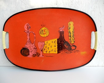 Mid-Century Modern Serving Tray . Italian Meal