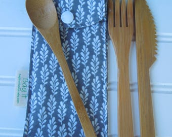 Reusable bamboo cutlery and carrying pouch - Picnic cutlery case - Flatware pouch - Bamboo cutlery - Waste free lunch - Sprigs on charcoal