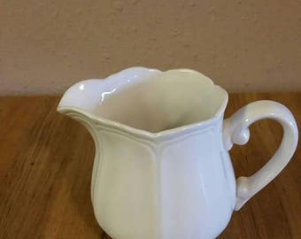 On Sale Harmony House Federalist Iron Stone Solid White Small Creamer or Syrup Pitcher Everyday Dish Made in Japan