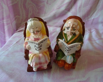Vintage Pair of Grandma and Grandpa Ceramic Retirement Banks, Lefton China Japan