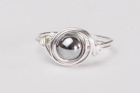Hämatit Ring Silber Ring Sterling Silber Hämatit Draht