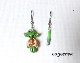 Little Pixie earrings and his sword in fimo and stainless steel